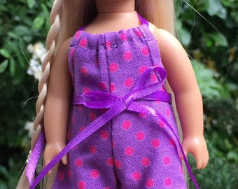 6 inch mini doll clothes: purple and pink polka dot halter romper