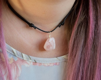 Raw Rose Quartz Necklace, Crystal Nugget, Choker / Long Length, Rough Gemstone, Chunky Pendant, Black Vegan Friendly Cord