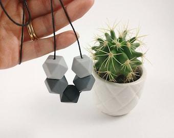 Silicone Teething Necklace - Grey & Black | Monochrome | New Mum Gift | Baby Shower Gift | Nursing necklace | Geometric necklace