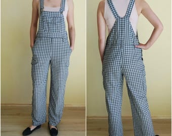 Checkered Black and White Overalls Womens Costume Vintage Jumpsuit Light Overalls Workman Overalls One Piece Women's Size EU 38 UK10 US6