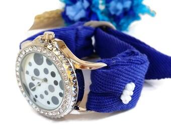 Personalized Womens Watch - Wrist Watch Blue - Best Watch- Cotton Band Watch- Embroidered Watch Band- Fashion Watch- One of a Kind Jewelry-