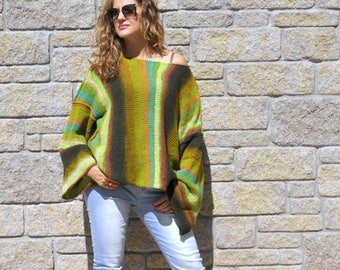 Oversized sweater | Loose sweater  - extra long sleeves - boho sweater - slouchy sweater - grunge sweater - green sweater - chunky knit