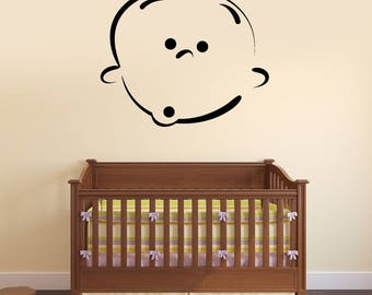 Wall Vinyl Decal  Beauty Baby Cartoon Face with Emotion Decor for Kids Room (#2489dn)