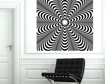 Wall Art Mural Black and White Optical Illusion with Striped Background Decor (#2665dn)