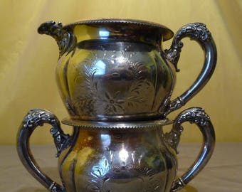 Gately & Rogers Quadruple #182 Silver Plated Creamer and Sugar Set