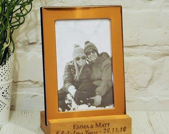 Copper Photo Frame with Personalised Engraved Solid Oak Wood Stand, 5th Anniversary Gift, Gifts for Couples, Engagement, Valentines Day Gift