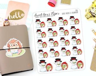Winter Planner Stickers - Hedgehog Planner Stickers - Snowman Planner Stickers - Snow Stickers - Character Stickers - 990