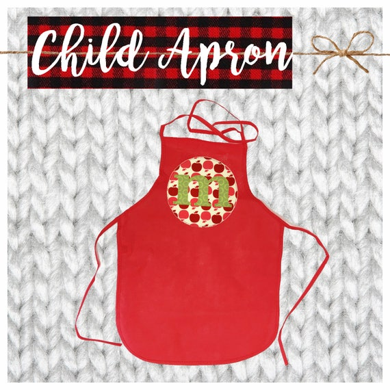 CYBER MONDAY 2017 SALE!  Applique Child's Apron, Kid Apron, Baking Party, Chef, Cook, Gift, Custom, Personalized, Initial