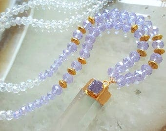 Purple Faceted Crystal Long Beaded Necklace Druzy Crystal Point Natural Ombre Gemstones Mala Beads Gift