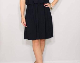Short navy dress Bridesmaid dress Spaghetti strap dress Navy blue dress