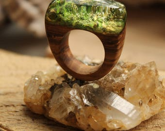 green ring woodland greenery ring Wooden ring resin ring organic ring Natural ring Art ring  rustic jewelry promise ring for her lover ring