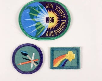 Girl Scout Merit Badges, 3 Vintage Scout Patches, Rainbow Patch, Art Badge, Thinking Day Award, Girl Scout Achievement Awards