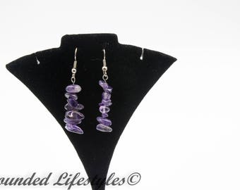Valentine Gift Amethyst Dangle Earrings February birthstone