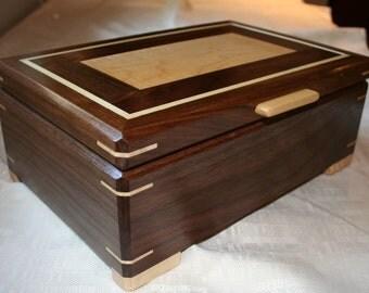 Black Walnut Wood Jewelry Box, Wooden Jewelry Box, Keepsake box, Jewelry Storage box,3SW