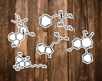 Drug Sticker Set - DMT, Methamphetamine, Valium, THC, LSD Molecule Art/Crystal Meth/Marijuanna/Rasta/Drugs not Hugs/Chemistry Stickers Gifts