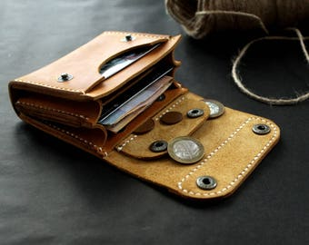 Leather wallet Small wallet credit card wallet womens wallet mens wallet card wallet leather coin purse handmade card wallet Ligth Yellow