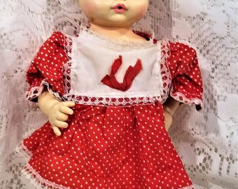 Horsman Baby Doll, Vintage 1974, Painted Eyes, Drinks Wets, Vinyl Plastic Hair