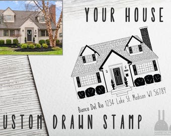 CUSTOM DRAWN House Return Address Rubber Stamp - Hand Drawn Illustrated Personalized Home Portrait Wood Mounted Stamp  - 01H