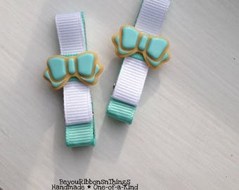 Cookies | Aqua Bow | Hair Clips for Girls | Toddler Barrette | Kids Hair Accessories | Grosgrain Ribbon | Flatback | No Slip Grip