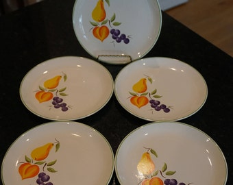 Vintage MCM Salem American Ironstone set of 5 Dessert Plates/ Fruit Design Dessert Plates/ Wedding Decor