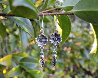 Silver Nature Flower Leaf Earrings