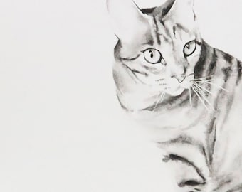 Cat painting CUSTOM PAINTING. Pet Portrait. Please ask if you would like a painting of your own animal.