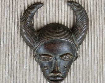 BRONZE BAULE MASK from Ivory Coast, (Cote d'Ivoire)