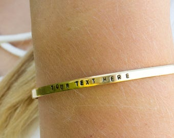Custom Gold Nugold Metal Hand Stamped Bracelet, Birthday, Christmas, Mother Day, Anniversary Gift,