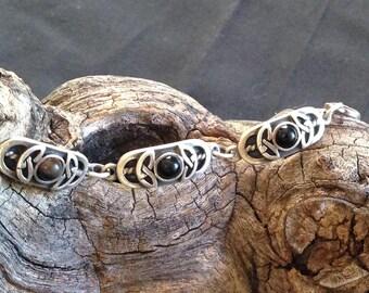 Vintage Silver Onyx Celtic Panel Bracelet