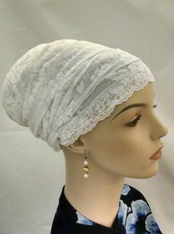 Shabbos white lace sinar tichel, tichels, head scarves, chemo scarves, Shabbos, Shabbat