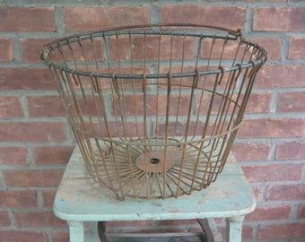 Antique Farm Wire Egg Gathering Basket