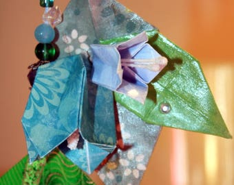 Origami Blue Bellflowers And Leaves Hanging Ornament