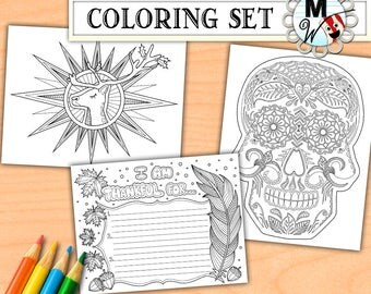 Holiday Coloring Book Halloween Thanksgiving Christmas Page Set