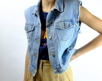 Vintage 90s Light Wash GAP Denim Vest - 1990s Distressed Cut Off Denim Jacket - Jean Vest Jacket - Medium