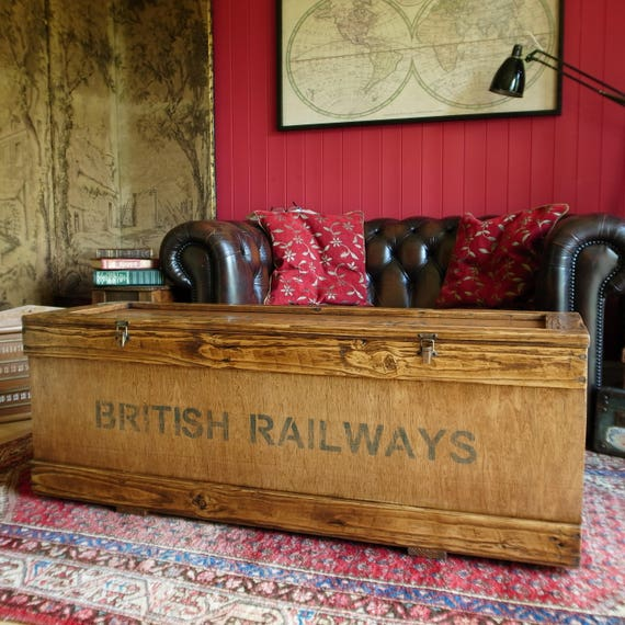 Vintage Industrial Railway Storage Chest Coffee Table Trunk Reclaimed Wood Furniture