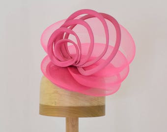 Pink Fascinator 'Sydney' Sinamay and Horsehair Hat with Loops,  Hat Art By Cathy