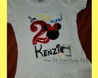 SALE!!! I'm TWOdles! Minnie Mouse 2nd Birthday Shirt Girls Birthday Disney Personalized Embroidered