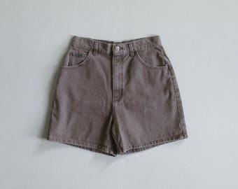 vintage brown jean shorts / 90s lee shorts / high waisted denim shorts / womens M