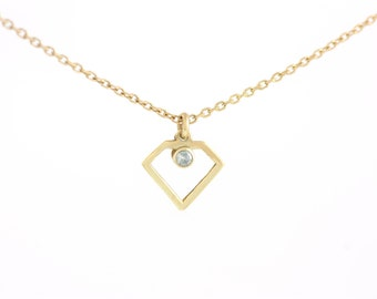 14K Gold Necklace, Diamond Necklace, Gold Diamond Necklace, Tiny Diamond Necklace, Dainty Gold Necklace, Gold Valentines Gift, GN0330