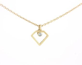 14K Gold Necklace, Diamond Necklace, Gold Diamond Necklace, Tiny Diamond Necklace, Dainty Gold Necklace, Gold Geometric Necklace, GN0330