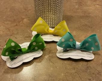 Cute Dotted Bunny Ribbon Girls Hair Bows- Girls Hair Clips -  Kids Hair Bows - Baby Hair bows  - Toddler Hair Bows -