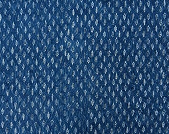 """Indian Designer Fabric, Blue Fabric, Leaf Hand Block Print, Sewing Fabric, 45"""" Inch Cotton Fabric By The Yard ZBC8837A"""