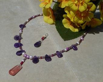 Amethyst, rose quartz gemstones and freshwater pearl necklace