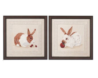 Set of 2 - Vintage 16x16 Strawberry & Raspberry Bunny by Jill Snyder, Framed or Unframed, Rabbit, Cute Bunnies, Animal, Webster Fine Art