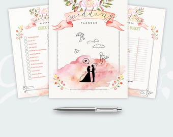 Wedding Planner Printable: 26 Colorful and romantic Organizer Pages, Checklist, Budget and much more - A4, A5 & Letter Size