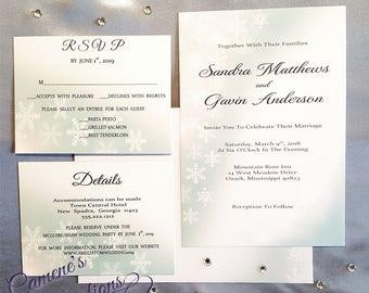 Snowflake Watercolor Wedding Invitation Set