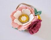 Mini Felt Flower & Succulent Crown // One Size Fits All // Nylon Headband // Ombre Ivory, Blush Pink, Sage // Newborn Photos // Baby Shower