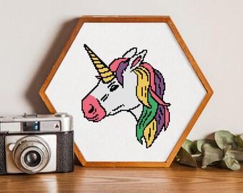 Unicorn cross stitch pattern,Counted cross stitch chart #21