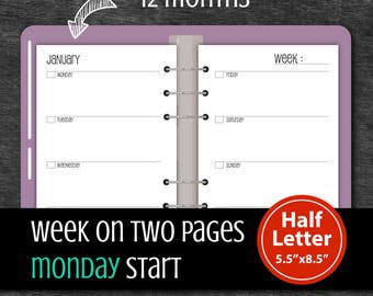 Undated 12 Months Week on two pages, Monday Start, Weekly Planner, A5 Filofax #half014