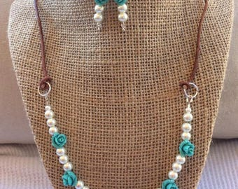 Handcrafted White Glass Pearl And Rosebud Leather Necklace